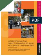 Programa III Congreso Nacional Sobre El Fenómeno Religioso 2019