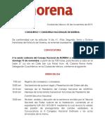 Convocatoria Consejo Nacional 10 Nov 2019