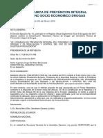 Ley Organica de Prevencion Integral Del Fenomeno Socio Economico de Las Drogas
