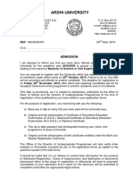 Admission Letter - BSc. in Civil Engineering