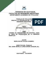 """DISEÑO DE INDICADORES DE CONTROL PARA EL ÁREA DE PRODUCCIÓN DE LA EMPRESA INGEPLAS."""""""