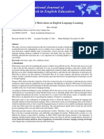 The impact on Motivation on English Language learning