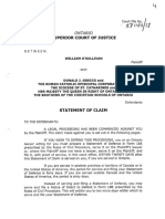 Issued Statement of Claim by William O'Sullivan