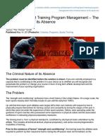 Sport Training Program Management - The Criminal Nature of Its Absence