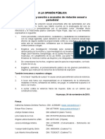 PRONUNCIAMIENTO A LA OPINIÓN PÚBLICA ¡Investigación y sanción a acusados de violación sexual a periodista!