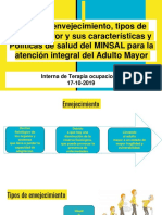 Tipos de Envejecimiento, Tipos de Adulto Mayor y Sus Características y Políticas de Salud Del MINSAL Para La Atención Integral Del Adulto Mayor