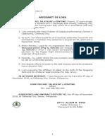 Affidavit of Loss-Or-JM Jalayajay