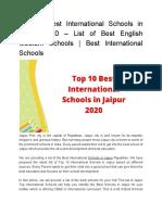 Top 10 Best International Schools in Jaipur 2020 – List of Best English Medium Schools _ Best International Schools