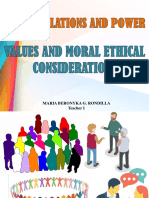Values and Moral Ethical Considerations-Report on Human Relations