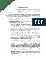 Secretary Certificate - Blank