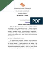 Ensayo de Derecho Romano. Francia Buitrago 1er Semestre Seccion D.docx