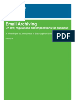 Email Archiving - UK Law, Regulations & Implications for Business