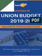 Summary of Union Budget 2019-20