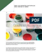 Cómo Obtener Colorantes Naturales Para Pintar o Teñir