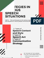 Strategies in Various Speech Situation