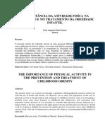 A Importância Da Atividade Fisíca Na Prevenção e No Tratamento Da Obesidade Infantil