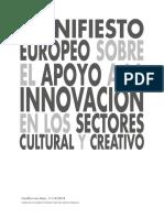 Manifiesto europeo sobre el apoyo a la innovación en los sectores cultural y creativo