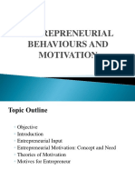 Entrepreneurial Behaviours and Motivation