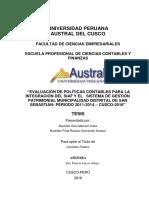 """""""Evaluación de Políticas Contables Para La Integracion Del Siaf y El Sistema de Gestion Patrimonial Municipal Distrial de San Sebastian-periodo 2011-2014-Cusco-2016"""