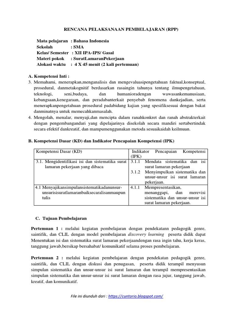 Rpp Surat Lamaran Pekerjaan Kd 3 1 Dan 4 1 Kelas Xii K 13 2018 2019 Docx