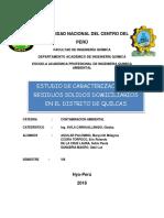 Caracterizacion RRSS Domiciliarios Quilcas