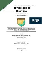 Implementacion de Un Sistema de Gestión de Seguridad y Salud en El Trabajo en La Construcción de Edificaciones Multifamiliares en Tingo Maria