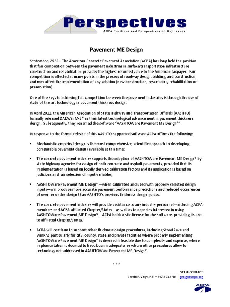 Pavement Me Design September 2013 The American Concrete Pavement Association Acpa Has Long Held The Position Road Surface Economic Sectors