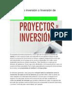 Proyecto de Inversión o Inversión de Capital