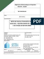 NOTE DE CALCUL D'UN HOTEL DEUX SOUS-SOL + QUATRE ENTRE SOL + RDC + SIX ETAGES EN BETON ARME