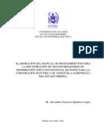 Elaboración Del Manual de Procedimientos Para La Recuperación de Transformadores