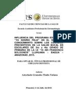 """Influencia Del Programa Educativo """"Sonríe Feliz"""" Sobre La Promoción de La Salud Bucal en Niños Del Colegio """"José Olaya Balandra"""""""