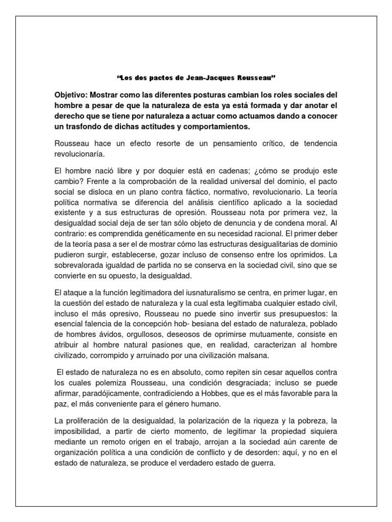 Los Dos Pactos De Jean Jacques Rousseau Jean Jacques