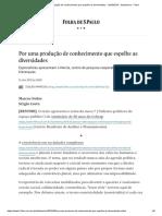 Por Uma Produção de Conhecimento Que Espelhe as Diversidades - 12-05-2019 - Ilustríssima - Folha