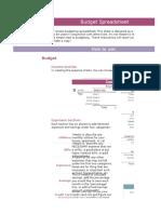 A budget sheet for finance