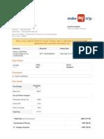 Banglore to Delhi Flight Invoice
