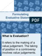 Formulating Evaluative Statements