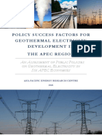 Policy Success Factors for Geothermal Electricity Development in the APEC Region