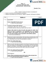 CBSE Class 10 Computer Application Marking Scheme 2019-20