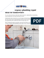Special Emergency plumbing repair ideas for homeowners