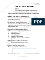 Outline of Medical legal report