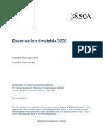 Exam Timetable 2020