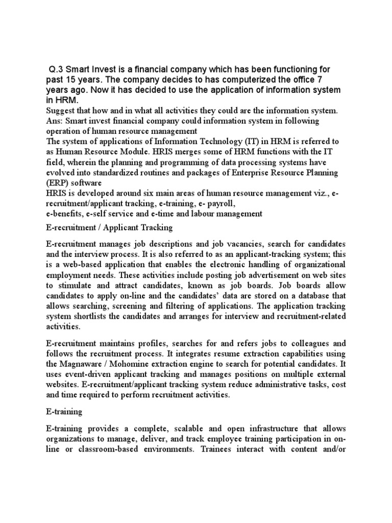 Smu Q 3 Assignments Human Resource Management Employment