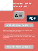 How to Download CSIR NET Admit Card 2019