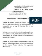 Reglamento de La Organización y Funcionamiento de La Junta Nacional Del Servicio Civil