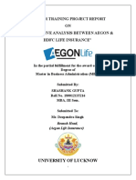 PRoject report on aegon life insurance