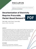 Recurve_Preprint_ Decarbonization of Electricity Requires Procurable Market-Based Demand Flexibility - Electricity Journal Sept 2019