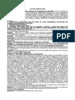 Acta de Constitución de Asociación