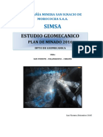 Informe Final Estudio Geomecanico Plan de Minado 2016