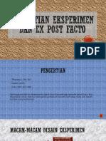 penelitian eksperimen dan psot facto