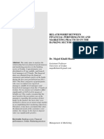 Relationship between financial perfornance and marketing parctices in the banking sector in jordan